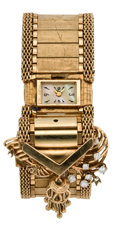 Timepieces:Wristwatch, Croton Diamond & Gold Covered Dial Bracelet Watch, circa1940's. ...