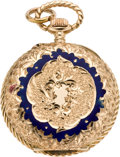 Timepieces:Pendant , Swiss Enamel & Gold Pendant Watch, circa 1905. ...