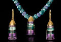 Gems:Jewelry, COLORFUL TOURMALINE & AMETHYST NECKLACE & EARRING SET. ...