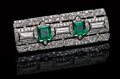 Gems:Jewelry, DECO DIAMOND & EMERALD PLATINUM PIN. ...