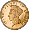 Three Dollar Gold Pieces, 1884 $3 MS64 Prooflike NGC....
