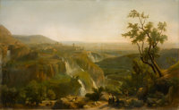 FRANZ KNÉBEL THE YOUNGER (Swiss, 1809-1877) View of Tivoli, 1871 Oil on canvas 39-3/4 x 64-3/4 inches (101 x 164...