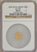 California Fractional Gold: , 1870 50C Liberty Octagonal 50 Cents, BG-909, R.6, MS65 NGC. NGCCensus: (1/0). PCGS Population (3/0). (#10767)...