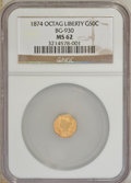 California Fractional Gold: , 1874 50C Liberty Octagonal 50 Cents, BG-930, R.5, MS62 NGC. NGCCensus: (2/0). PCGS Population (8/15). (#10788)...