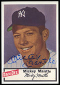 Autographs:Sports Cards, 1980's Mickey Mantle Signed Trade Card. ...