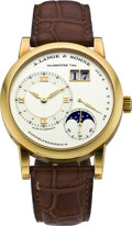 Timepieces:Wristwatch, A. Lange & Sohne 1 ref. 109.021 Gold Astronomic Moon PhaseWatch with Power Indication and Date, circa 2003. ...