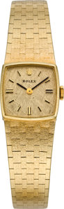 Timepieces:Wristwatch, Rolex Ref. 8184 Lady's Gold Bracelet Wristwatch, circa 1975. ...