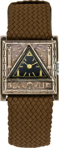 Timepieces:Wristwatch, Mathey Tissot Scarce Masonic Wristwatch, circa 1950's. ...