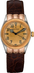 Timepieces:Wristwatch, Rolex Rose Gold & Steel Hooded Lug Bubbleback, circa 1937. ...