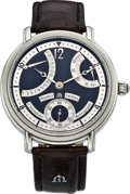 Timepieces:Wristwatch, Maurice Lacroix Masterpiece Collection Calendrier Retrograde, ML 76Steel Wristwatch, modern. ...