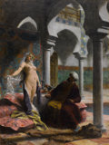 Paintings, FRANÇOIS EDOUARD ZIER (French, 1856-1924). The New Harem Girl, circa 1885. Oil on canvas. 12-1/2 x 17-3/4 inches (31.8 x...