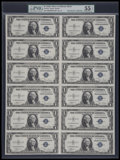 Small Size:Silver Certificates, Fr. 1612 $1 1935C Silver Certificates. Uncut Sheet of 12. PMG About Uncirculated 55 EPQ.. ...