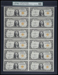 Small Size:World War II Emergency Notes, Fr. 2306 $1 1935A North Africa Silver Certificates. Uncut Sheet of12. PMG Choice Uncirculated 64 EPQ.. ...
