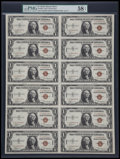 Small Size:World War II Emergency Notes, Fr. 2300 $1 1935A Hawaii Silver Certificate. Uncut Sheet of 12. PMGChoice About Unc 58 EPQ.. ...