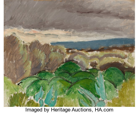 HENRI MATISSE (French, 1869-1954)Cagnes, Paysage au Temps Orageux, 1917Oil on artist's board12-7/8 x 15-7/8 inches...
