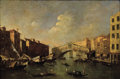 Fine Art - Painting, European:Antique  (Pre 1900), Manner of FRANCESCO GUARDI (Italian, 1712-1793). Venice, TheRialto, 19th Century. Oil on canvas. 12 x 18 inches (30.5 x...