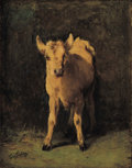 Fine Art - Painting, European:Antique  (Pre 1900), FILIPPO PALIZZI (Italian, 1818-1899). Blond Calf. Oil oncanvas laid on panel. 10 x 7 inches (25.4 x 17.8 cm). Signe...