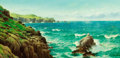 Fine Art - Painting, European:Antique  (Pre 1900), DAVID JAMES (British, 1872-1904). Sea Cliffs, 1887. Oil oncanvas. 25 x 50 inches (63.5 x 127 cm). Signed and dated lowe...