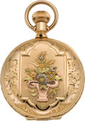 Timepieces:Pocket (pre 1900) , Elgin Multicolor Gold Pocket Watch with Flowers, circa 1888. ...