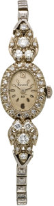Timepieces:Wristwatch, Bulova White Gold & Diamond Wristwatch, circa 1940's. ...