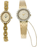 Timepieces:Wristwatch, Two Lady's Gold & Diamond Bracelet Watches, circa 1980's. ...(Total: 2 Items)