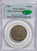 Colonials, 1789 TOKEN Mott Token, Thick Planchet, Plain Edge MS61 PCGS.CAC....