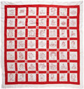 Political:Textile Display (1896-present), U.S. Presidents Up Through Taft: An Unusual Embroidered PatchworkQuilt. ...