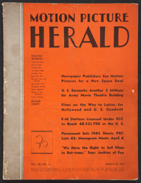 """Motion Picture Herald Magazine Lot (March 29, 1941). Magazines (2) (Multiple Pages, 9.5"""" X 12""""). ... (Total: 2..."""