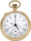 Timepieces:Pocket (post 1900), C. H. Meylan Gold Split Second Chronograph, circa 1905. ...