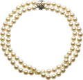 Estate Jewelry:Necklaces, Cultured Pearl, Diamond, Silver-Topped Gold Necklace. ...