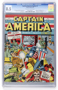 Golden Age (1938-1955):Superhero, Captain America Comics #1 (Timely, 1941) CGC VF+ 8.5 Off-white towhite pages....