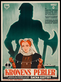 "Pearls of the Crown (Lenauer International Films, 1937). Danish Poster (24.5"" X 33.5""). Historical Drama"