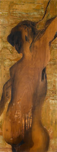 Sculpture, CARLOS COLOMBINO . (Paraguayan, b. 1937). Cuñá-Cué (Ex-Mujer), 1966. Carved and stained wood panel. 63 x 23-3/4 inches (...