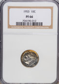 Proof Roosevelt Dimes: , 1953 10C PR66 NGC. NGC Census: (143/436). PCGS Population(443/344). Mintage: 128,800. Numismedia Wsl. Price for NGC/PCGSc...