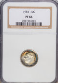 Proof Roosevelt Dimes: , 1954 10C PR66 NGC. NGC Census: (145/537). PCGS Population(420/482). Mintage: 233,300. Numismedia Wsl. Price for NGC/PCGSc...