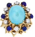 Estate Jewelry:Rings, Turquoise, Diamond, Lapis Lazuli, Gold Ring. ...