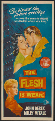 "The Flesh is Weak (BEF, 1957). Australian Post-War Daybill (13"" X 30""). Exploitation"