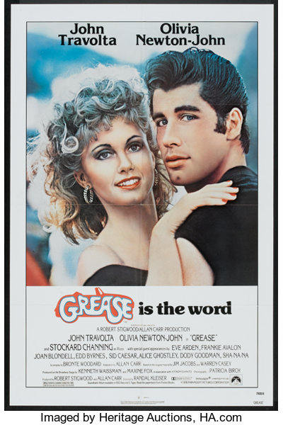 Grease Paramount 1978 One Sheet 27 X 41 Musical Movie