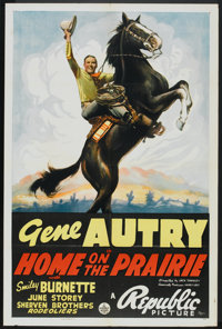 "Home on the Prairie (Republic, 1939). One Sheet (27"" X 41""). Western"