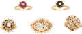 Estate Jewelry:Lots, Lot of Diamond, Ruby, Sapphire, Gold Jewelry . ... (Total: 5 Items)