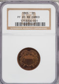 Proof Two Cent Pieces, 1865 2C PR65 Red and Brown Cameo NGC....