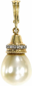 Estate Jewelry:Boxes, South Sea Cultured Pearl, Diamond, Gold Pendant-Enhancer. ...