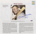 """Autographs:Letters, Mickey Mantle Signed Page, PSA Authentic. The most beloved baseballplayer of all time signed this page, """"Mickey Mantle No. ..."""