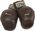 Boxing Collectibles:Autographs, Muhammad Ali Signed Pair of Boxing Gloves. Both gloves from this pair of vintage full size Everlasts sports a neat silver s...