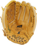 Autographs:Others, Nolan Ryan Autographed Fielder's Glove. Rawlings RBG34 Nolan Ryanmodel with 7 No-Hitters insignia in the pocket. Blue shar...