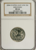 Statehood Quarters: , 2004-D 25C Wisconsin Extra Leaf Low MS66 NGC. PCGS Population (101/2). (#814033)...