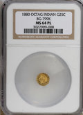 California Fractional Gold: , 1880 25C Indian Octagonal 25 Cents, BG-799K, R.6, MS64 ProoflikeNGC....