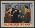 "Movie Posters:Action, All Through the Night (Warner Brothers, 1942). Lobby Card (11"" X14""). Action. Starring Humphrey Bogart, Conrad Veidt, Kaare..."