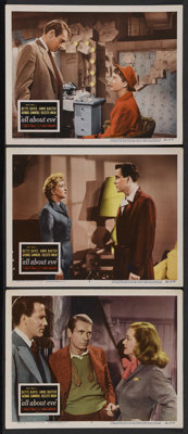 """All About Eve (20th Century Fox, 1950). Lobby Cards (3) (11"""" X 14""""). Drama. Starring Bette Davis, Anne Baxter..."""