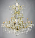 Decorative Arts, Continental:Lamps & Lighting, A CONTINENTAL CUT CRYSTAL EIGHTEEN-LIGHT CHANDELIER. 19th-20thCentury. 44 inches (111.8 cm) high. ...